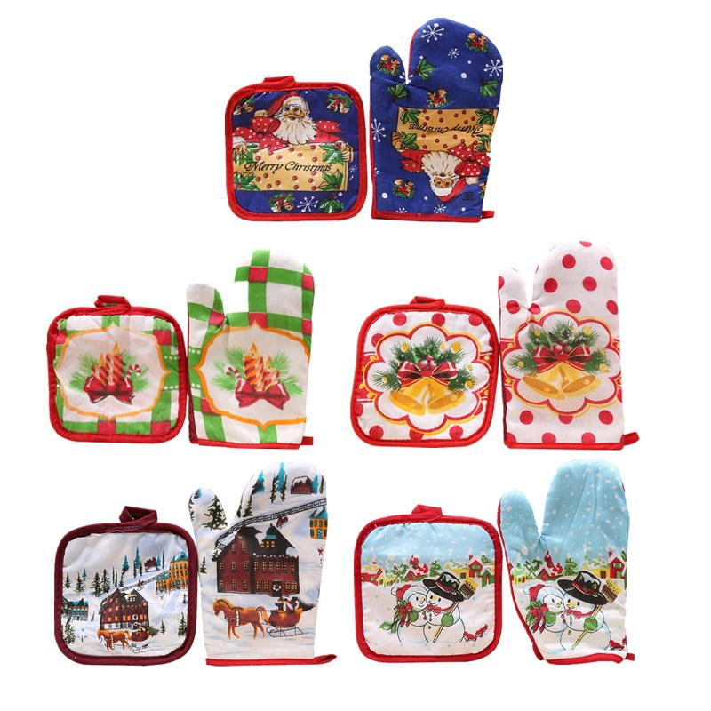 Christmas Decoration 1 set of Christmas Anti-hot Gloves Microwave Oven Hot Insulation Mat For Home Xmas Party Decoration Supply