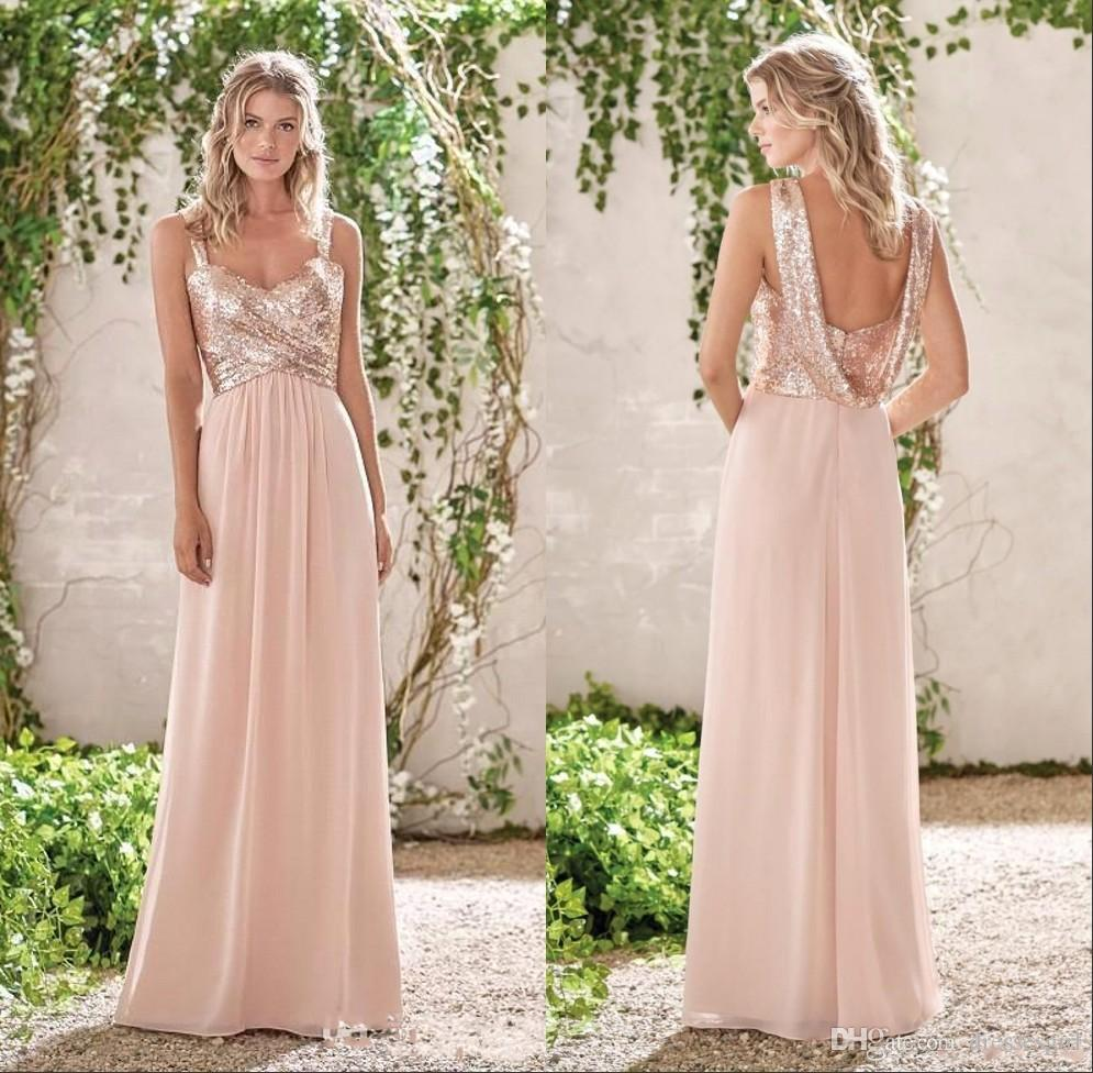 f46682b305 2019 Rose Gold Bridesmaid Dresses Sequins Spaghetti A Line Chiffon Cheap  Long Beach Wedding Guest Dress Backless Maid Of Honor Gown BA4910 Highstreet  ...