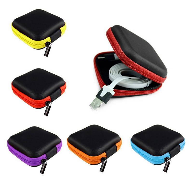 100pcs Headphone Case PU Leather Earbuds Pouch Mini Zipper Earphone box Protective USB Cable Organizer Fidget Spinner Storage Bags 5 Colors