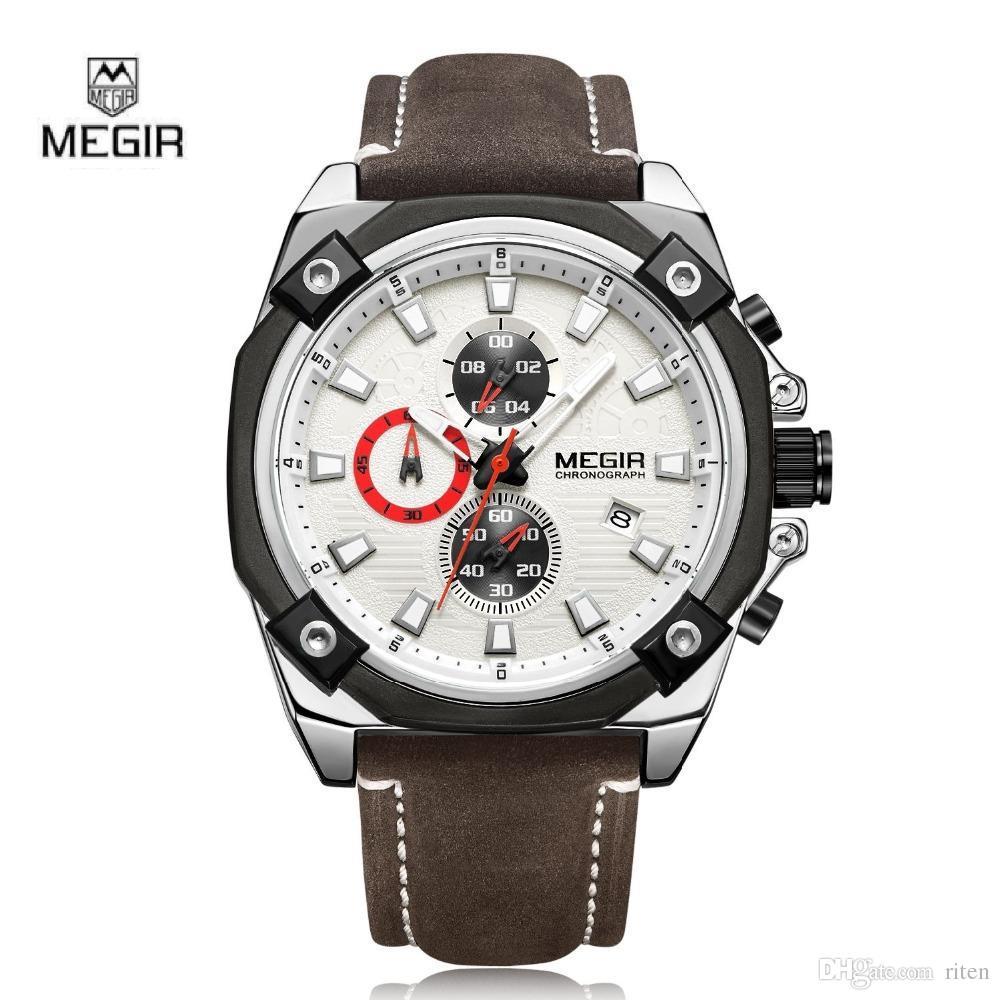 d7c5bceefe8f Compre MEGIR Banda Original Para Hombre Casual Reloj Impermeable Cronógrafo  Deporte Multifunciones Nuevo Estilo Correa De Cuero Reloj Elegante A  40.77  Del ...