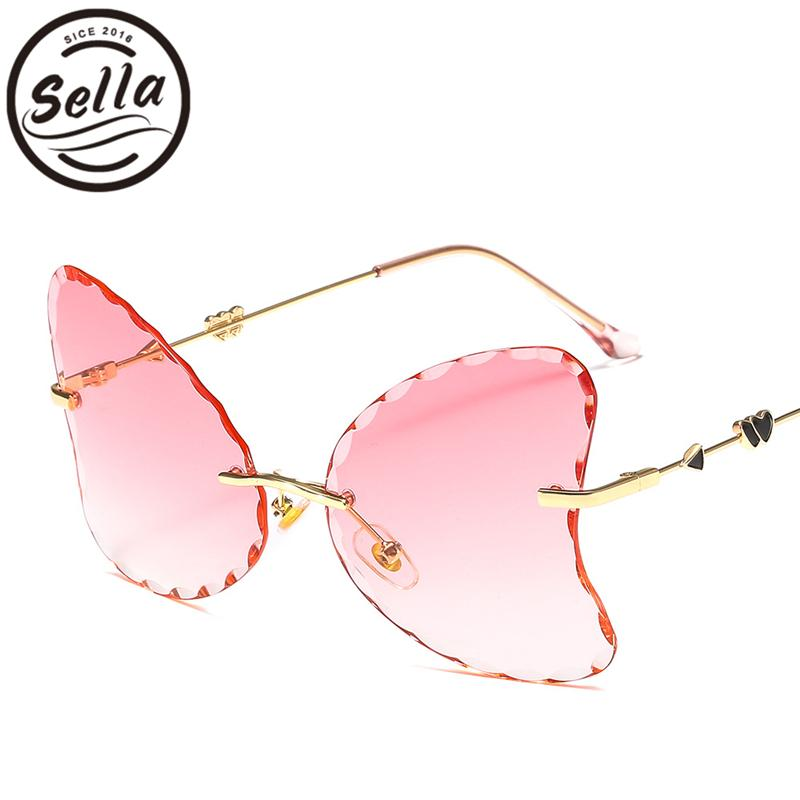 Apparel Accessories Sella 2019 New Fashion Women Oversized Rimless Cateye Sunglasses Wave Rim Ocean Color Tint Lens Eyeglasses Shade For Ladies