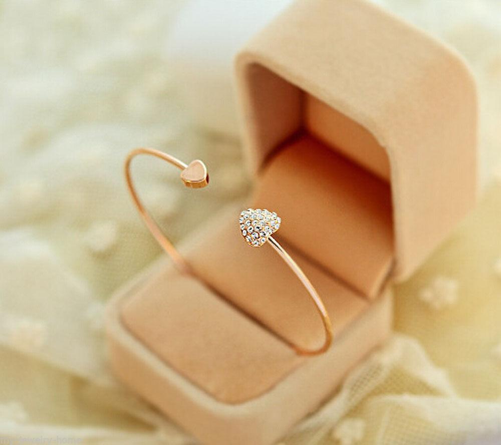 Neue Herz Kristall Liebe Öffnung Gold Armband Armreif Kristall Armbänder Armreifen für Frauen Hochzeit Braut Schmuck