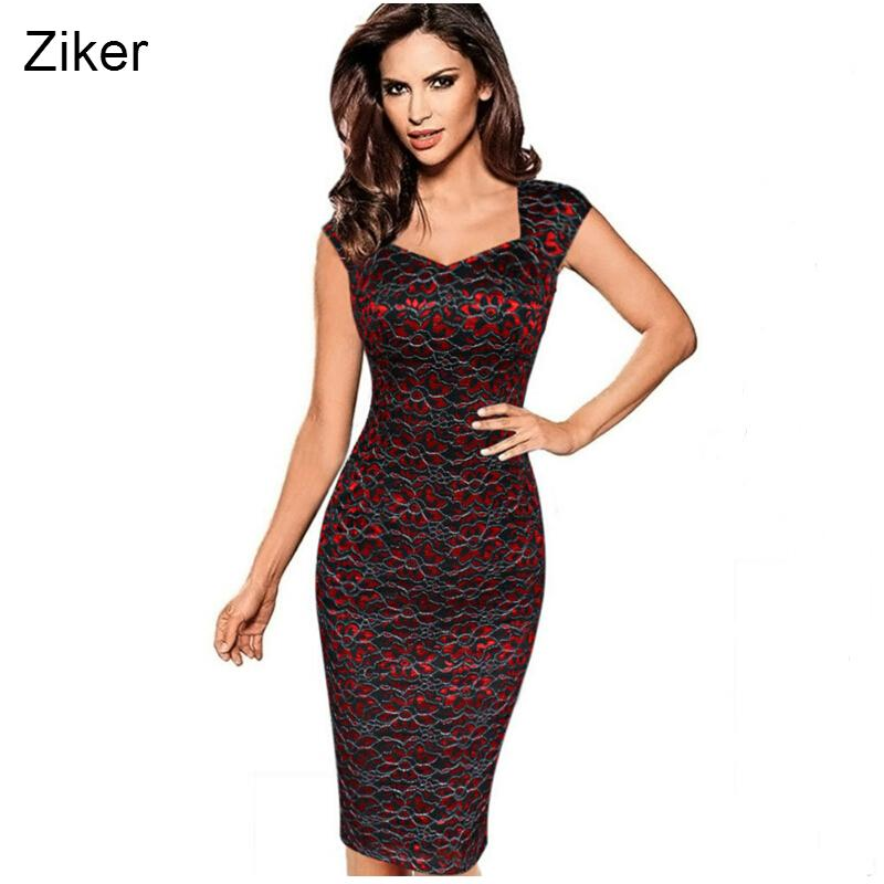 29ab3a6c559a9 2019 Ziker Brand Womens Sexy Elegant Summer Floral Flower Lace Cap Sleeve  Slim Casual Party Fitted Sheath Bodycon Dress Vestidos 4XL Q190423 From  Yizhan05, ...