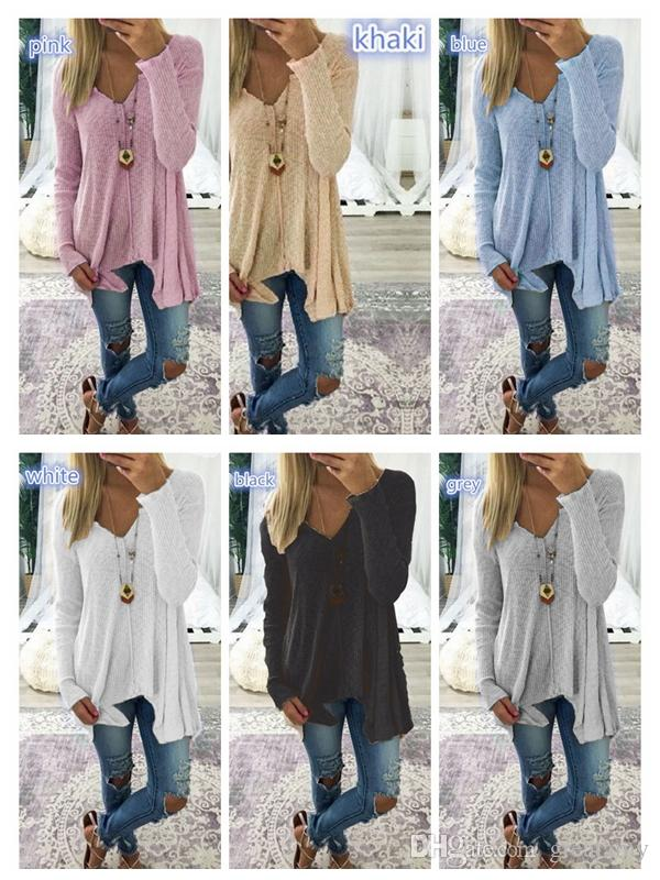 1813c843592eb Women Large Size Knit Pullover Fashion Women Tops Long Sleeve Cotton ...