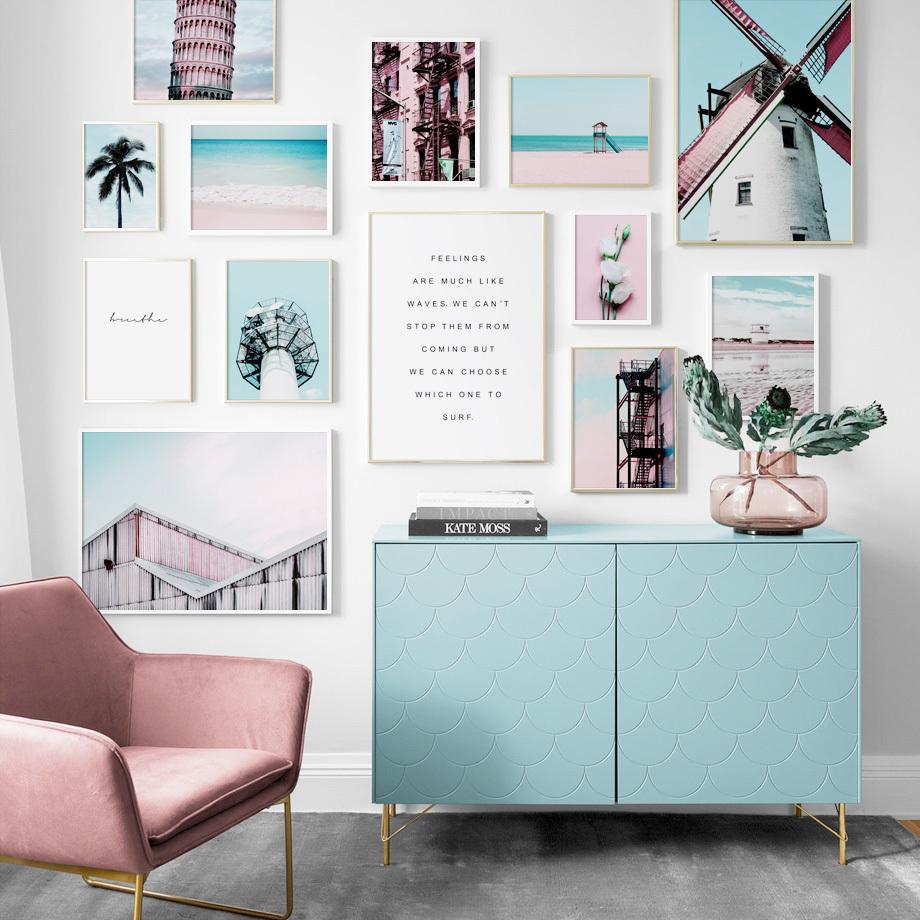 2020 Windmill Rose Pink Beach Sea Coconut Tree Wall Art ...