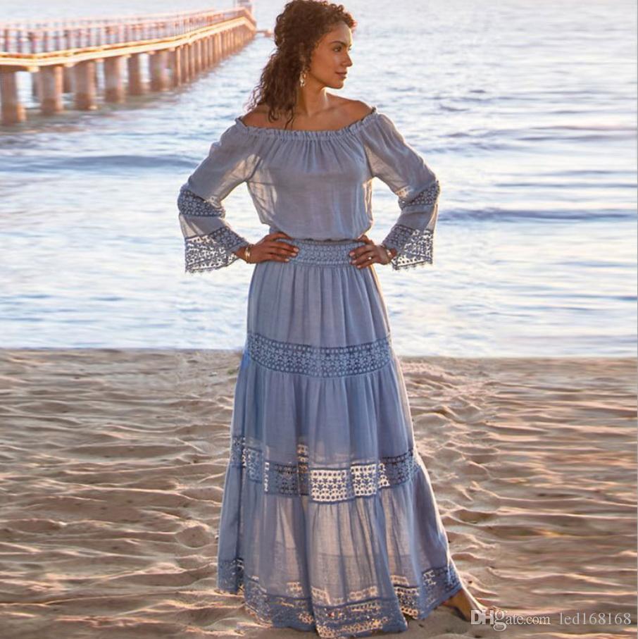 2020 femmes bretelles manches longues en vrac blanc Robe de plage Sexy Encolure Dentelle Boho Femmes Maxi Dress