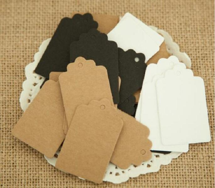 9 * 4,5 cm Brun vit kammusslan blank kartong prislapp, hang tagg, retro gåva hängmärke, placera kort