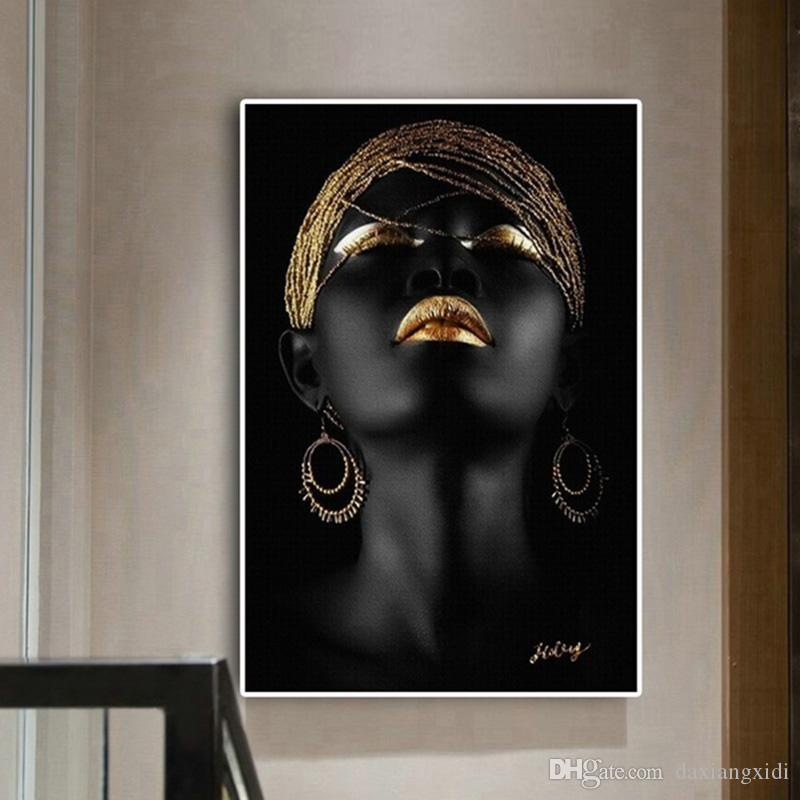 2021 Black African Nude Contemplator Woman Oil Painting On