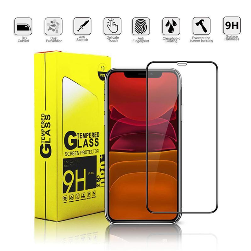 Stok! Tam Kapsam temperli cam Tam Tutkal Kabarcık Ücretsiz Anti Scratch Shatter'ı Dayanıklı Ekranda Koruyucu iPhone için 11 Pro XS Max XR X 7 8P
