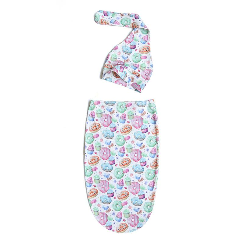 신생아 아기 Swaddle 담요 잠자는 가방 매듭 모자 2 개 랩 ins 유아 만화 꽃 도넛 수면 자루 사진 소품