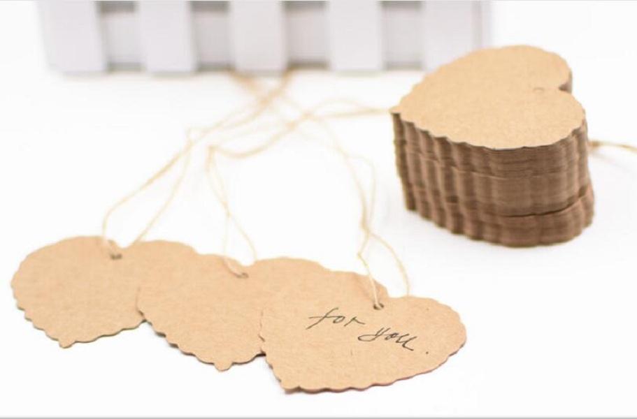 التي / الكثير 6 * 5.5cm وكرافت ورقة القلب فارغ شكل هدية بطاقة ريترو هانغ علامة وشملت سلسلة