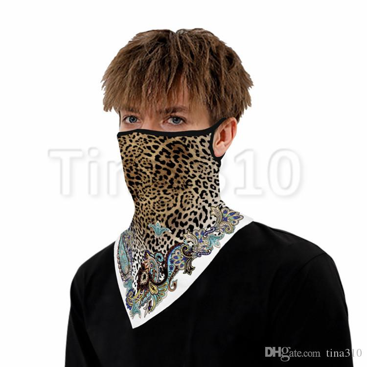 hot Popular leopard print digital printing face mask triangle riding mask mountaineering insect proof Magic Scarf T2I51170