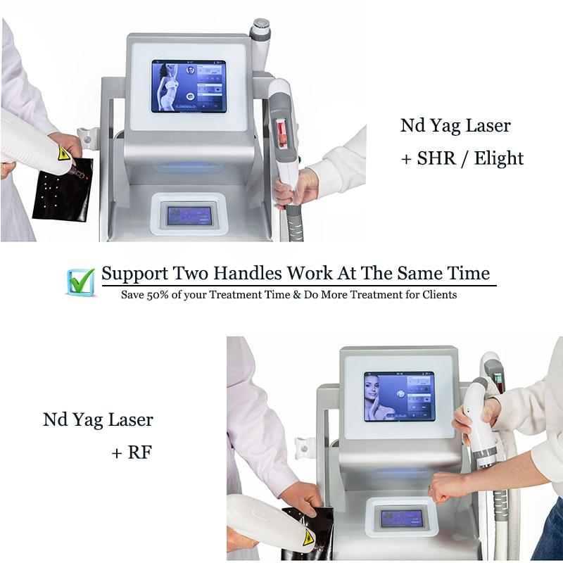 Multi-funzionale Elight Opt SHR IPL Depilazione capelli Lazer Wrinke Reduction RF Skin ringiovanimento 3000W ND Yag Dispositivo di bellezza laser