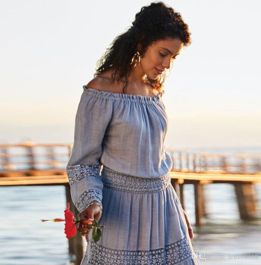 2020 Women Strapless Long Sleeve Loose White Beach Dress Sexy Off Shoulder Lace Boho Women Maxi Dress