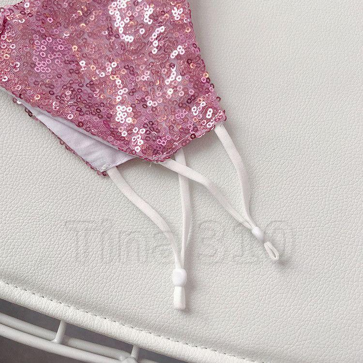 hot Mouth Mask Dustproof Washable Women and men pink Sequin Face Mask Glitter Shiny Cover Designer masks T2I51153-2