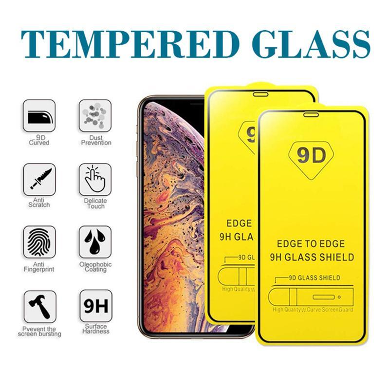 ¡En stock! Protector de pantalla de coraje completo de vidrio de 9D para iPhone 12 11 Pro Max 7 8 Plus Samsung A90 A50S J7