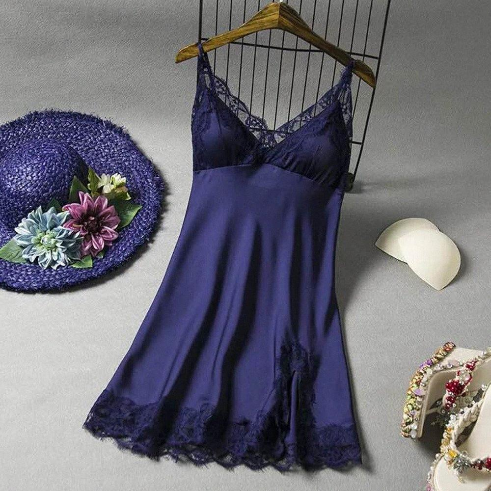 Fashion WomenS Sexy Embroidery Lace Floral Long Nightgown