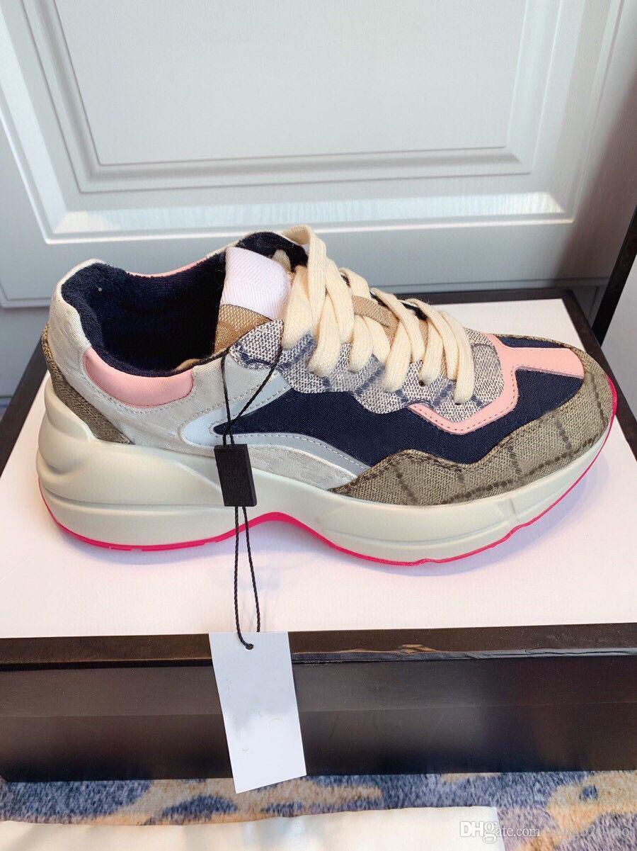 concepteur dame de chaussures de sport 100% cuir pour femmes sneakers femme luxe lacets lettres chaussures plateforme de mode nouvelles chaussures hommes grande taille 35-42-45
