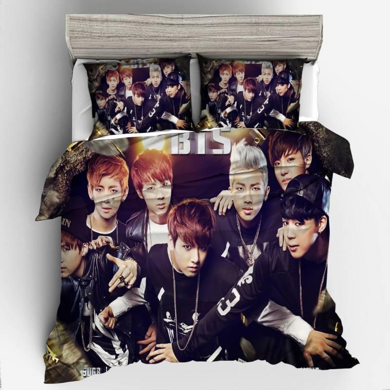 BTS Korean Celebrity Dropshipping 3D Bedding Set Queen