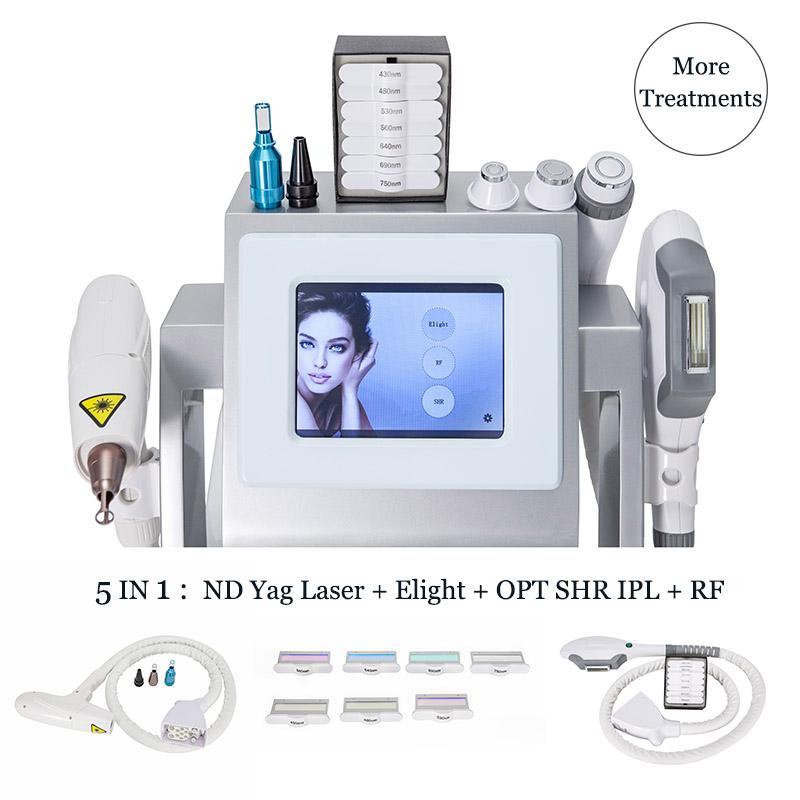 5 في 1 IPL ELIGHT SHR أجهزة إزالة الشعر الطبية YAG ليزر الوشم تصبغ تصبغ المعالجة الثنائي القطب