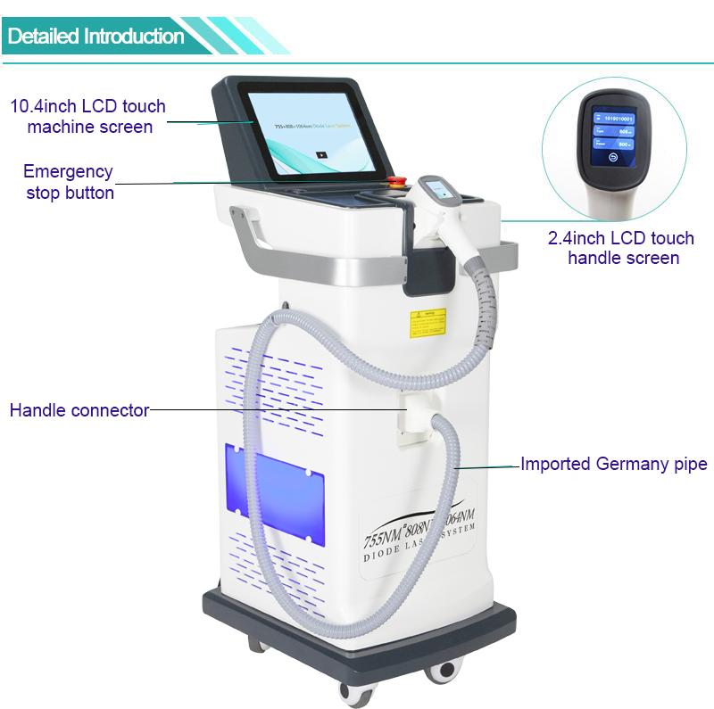 laser diode hair removal laser ipl 3 wavelength laser skin rejuvenation equipment for all skin colors 30millions shots