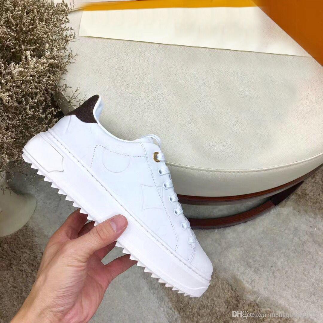 signora del progettista piatto lacci in pelle Scarpe casual scarpa da tennis scarpe da donna lettere di lusso 100% i pattini della piattaforma modo della pelle bovina degli uomini di grande formato 42-45