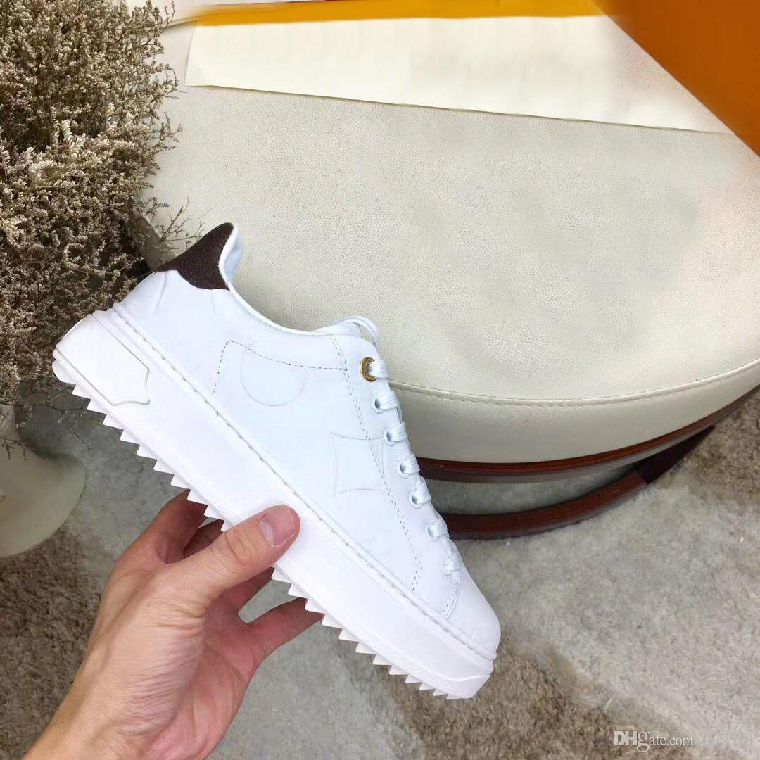 concepteur dame chaussures plates Casual lacets en cuir sneaker lettres chaussures femme de luxe 100% d'hommes de plate-forme de mode chaussures grande taille peau de vache 42-45
