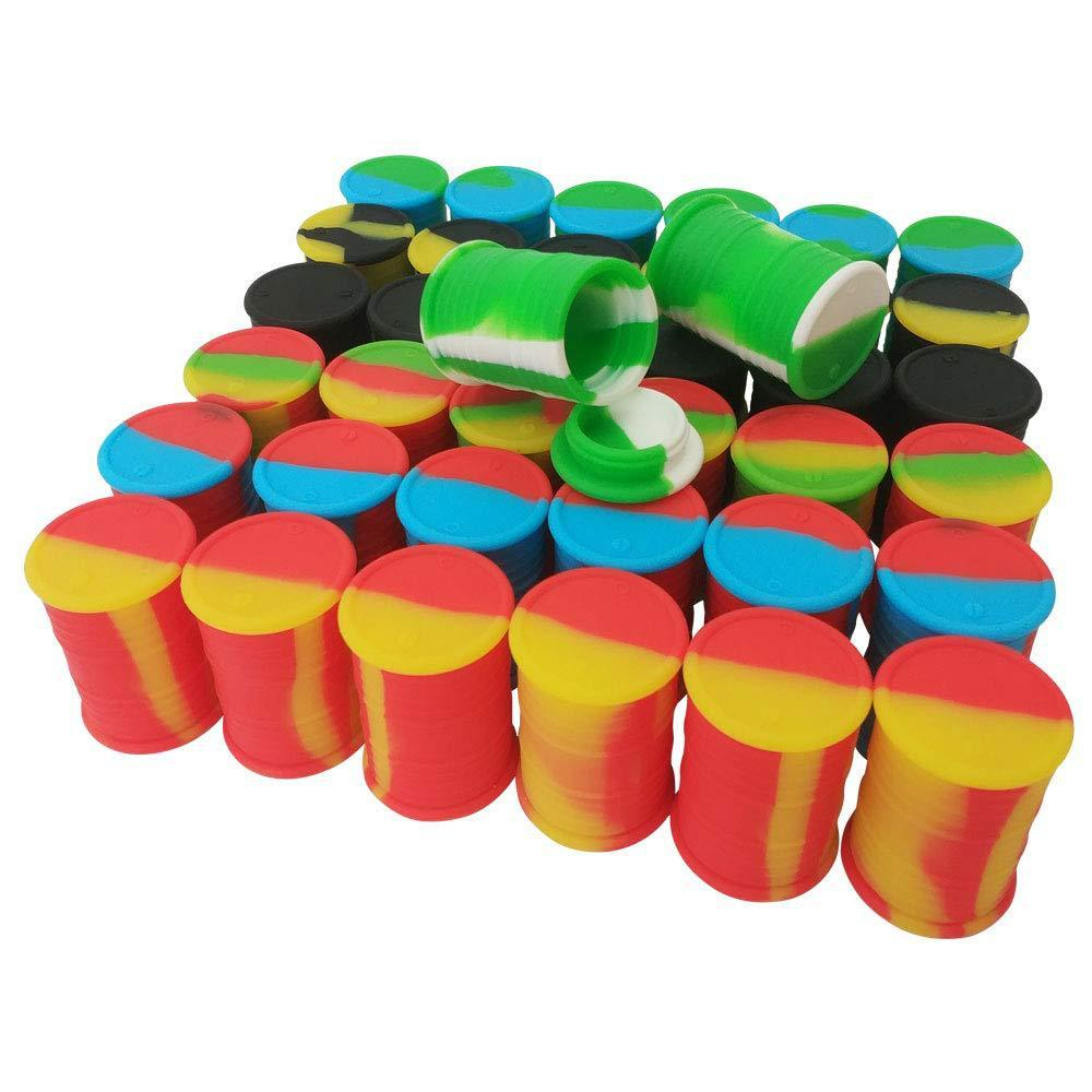 silicone oil barrel container jars dab wax vaporizer rubber drum shape container 11ml silicon dry herb dabber tool concentrate storage DHL