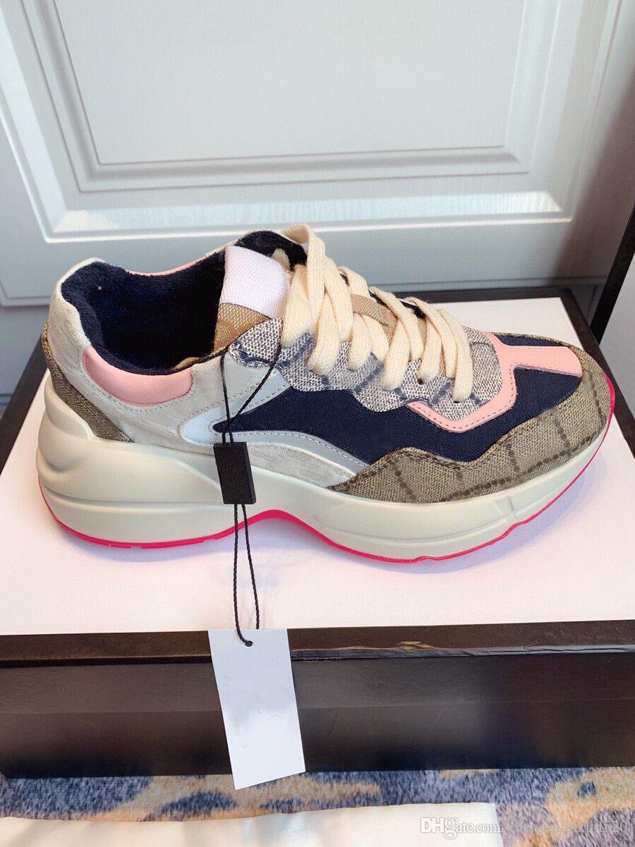 Lady Casual Chaussures 100% En Cuir imprimé Sneaker Lettres Lettres à lacets Femme Chaussures Chaussures Fashion Plate-forme Nouveaux Hommes Chaussures de loisirs Grande taille 35-42-45