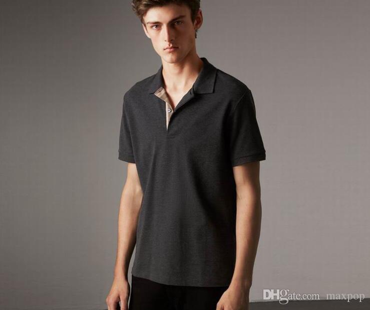 클래식 런던 브릿 폴로 셔츠 잉글랜드 스타일 캐주얼 T 셔츠 남성 짧은 소매면 2018 패션 남성 스포츠 폴로 블랙 퍼플 그린 탑
