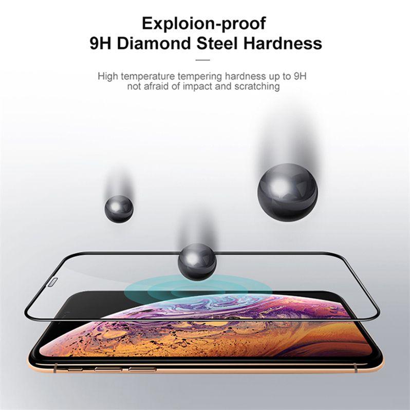 2020 Yeni Tam Kapsam temperli cam Tam Tutkal Kabarcık Ücretsiz Anti Scratch Shatter'ı Dayanıklı Ekran Koruyucu iPhone 11 Pro XS Max XR X 6 6S 7