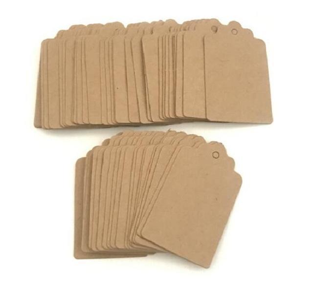 5 * 3 cm 350GSM pétoncle Kraft Blank étiquette volante tag Rétro cadeau cartes de table Nombre Kraft Balises