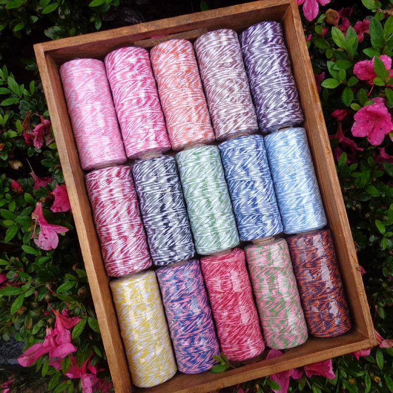 DIY Twisted Cuerdas de embalaje de regalo Accesorios del embalaje fiesta de la boda Decoración de embalaje del color del doble de algodón de Baker Cordel Cuerda