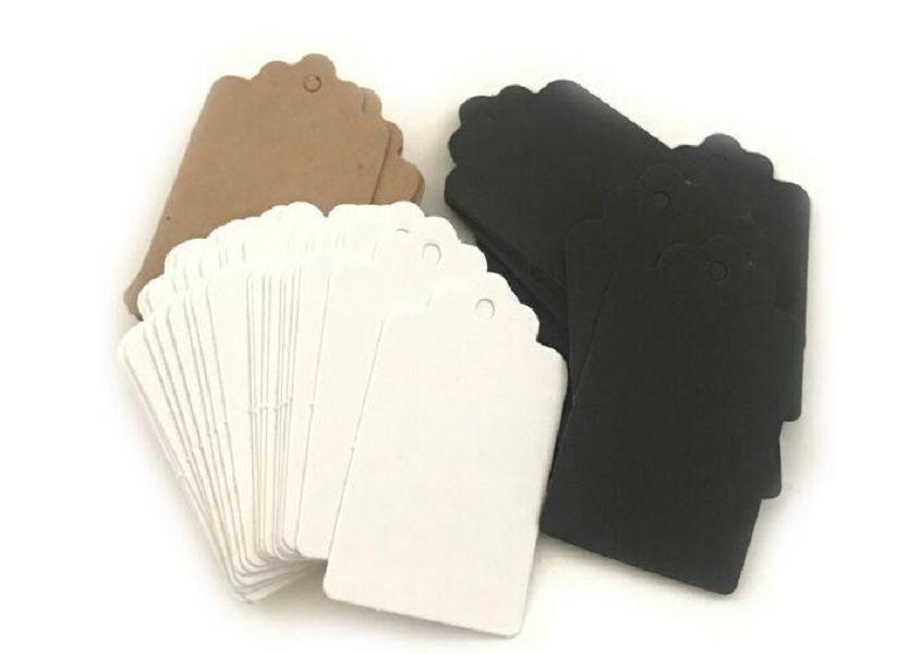 9 * 4,5 cm Marrón Blanco Vieira en blanco cartulina Etiqueta de precio, Etiqueta de la caída, etiqueta retro caída del regalo, tarjeta del lugar