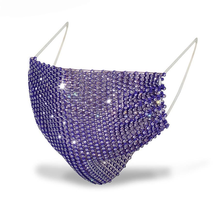 DHL Fashion Designer navire Masque Masque de femme Masque Masques Drill Protection solaire Été Décoration strass Facemask FY0054
