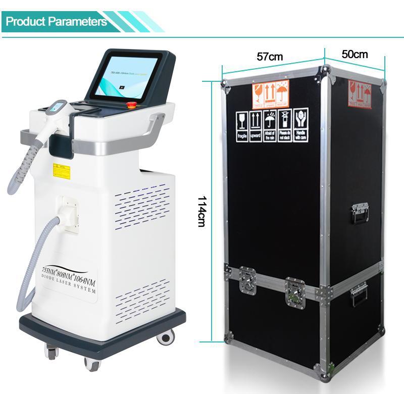 808nm diodo láser cabello eliminación máquina 755nm 1064nm máquina láser de diodo LightSheer para el envío libre clínica