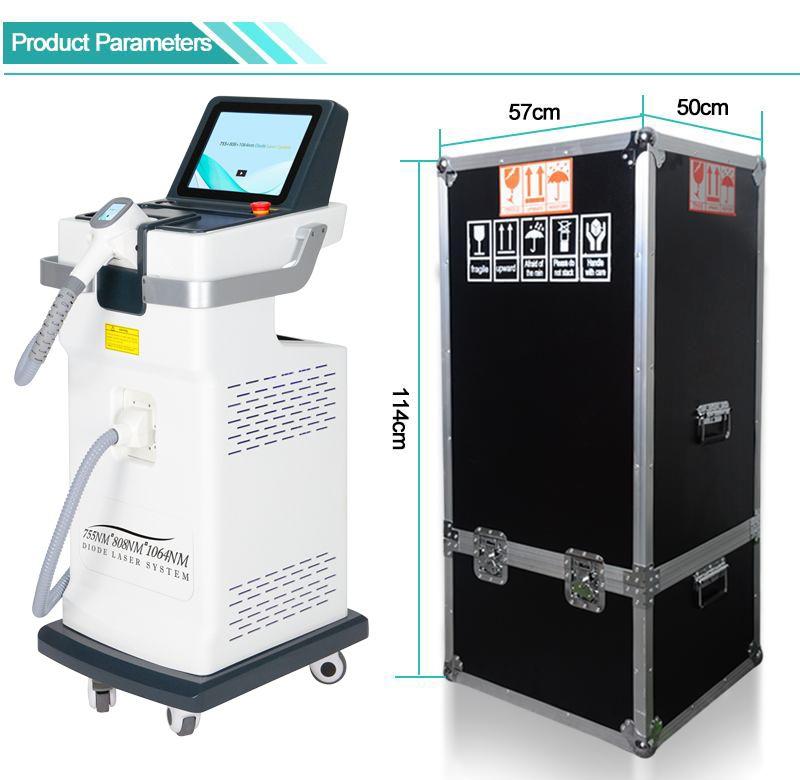 Fabbricazione Fornito Laser depilazione macchina 808nm diodo laser permanente macchina depilazione laser alluminio Box Lega Imballaggio
