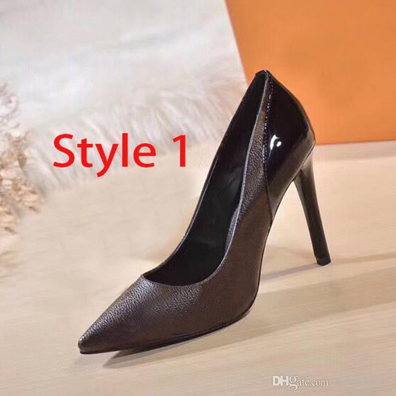 مصمم أحذية عالية الكعب قارب ربيع الخريف مدببة الخناجر جلدية برشام النساء الأحذية الفاخرة الحفلات مثير إلكتروني سيدة اللباس الأحذية 35-42