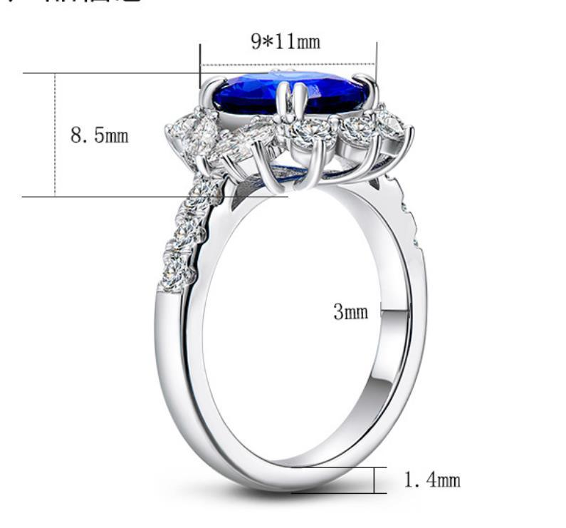 ForeverBeauty Jewelry 4 Ct Sapphire Gemstone Women Rings With 925 Sterling Silver Plated 18k Withe Gold Flower Rings