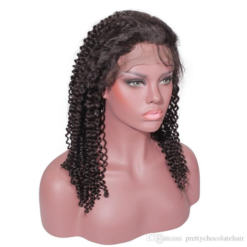 150 الكثافة 13x6 البرازيلي العذراء الأفرو مع الجبهة الرباط غريب الضفيرة غلويليس الإنسان طفل الشعر طويل مجعد الشعر المستعار