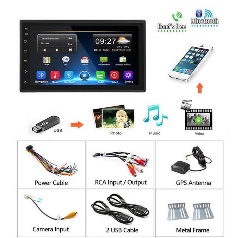 Système de navigation Android de voiture de 7 pouces Système de navigation Android MP5 Lecteur DVD de voiture Bluetooth 2.5D Écran Android 9.1 Support Miroir Miroir