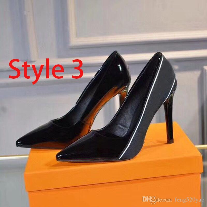 Chaussures de bateau à talons hauts de designer Printemps automne pointé stilettos cuir rivet femme chaussures de luxe fête sexy lettre dame chaussures 35-42