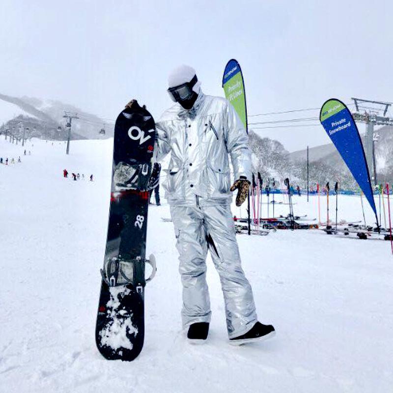 2020 Hot Silver Ski Suit Men Women Snowsuit Winter Outdoor ...
