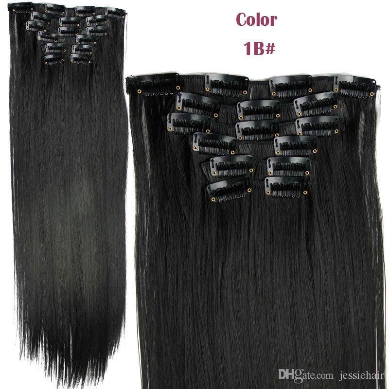 24 بوصة مجموع 6PCS / مجموعة مع 16 كليب الصرفة ومزيج الألوان الاصطناعية طويل مستقيم كليب في / على ملحقات الشعر مجموعة واحدة للرئيس الكامل