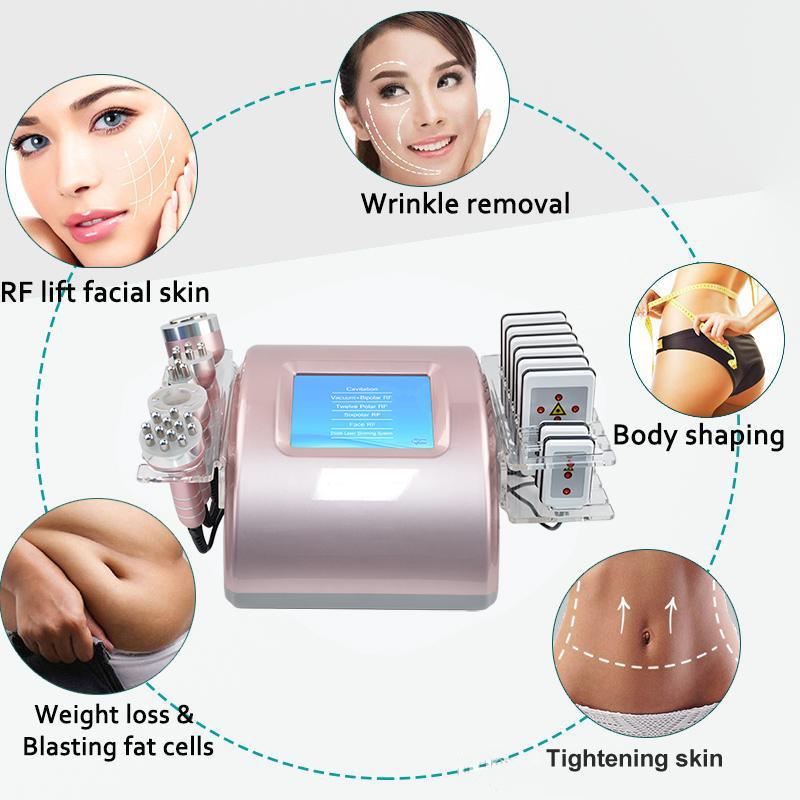 Professional laser lipo slimming machine 8 lipolaser pads ultrasound cavitation slimming radio frequency vacuum skin lifting equipment