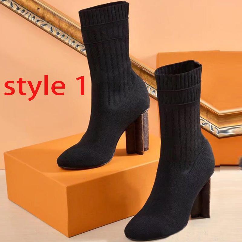 Носки сапог Дизайнера осень зима женщины обувь вязаной эластичная сапоги Мартин сапоги роскошной сексуальные женщины на высоких каблуках обувь Большого размера 35-41-42