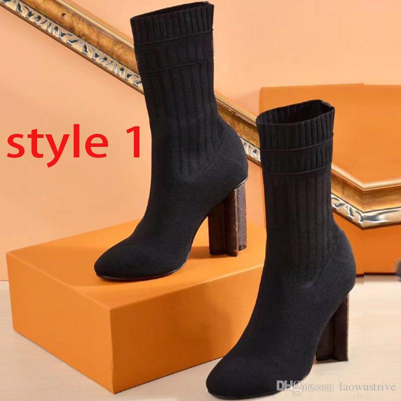 inverno Designer outono meias botas mulheres sapatos de malha elástica botas de luxo Martin botas sexy sapatos de salto alto tamanho grande 35-41-42