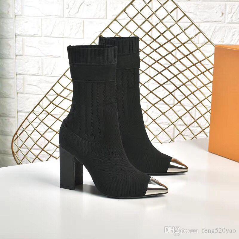sexy chaussures pointues travestissement en automne hiver Tricoté bottes élastiques Designer bottes Martin chaussettes de luxe bottes grande taille dame chaussures à talons hauts