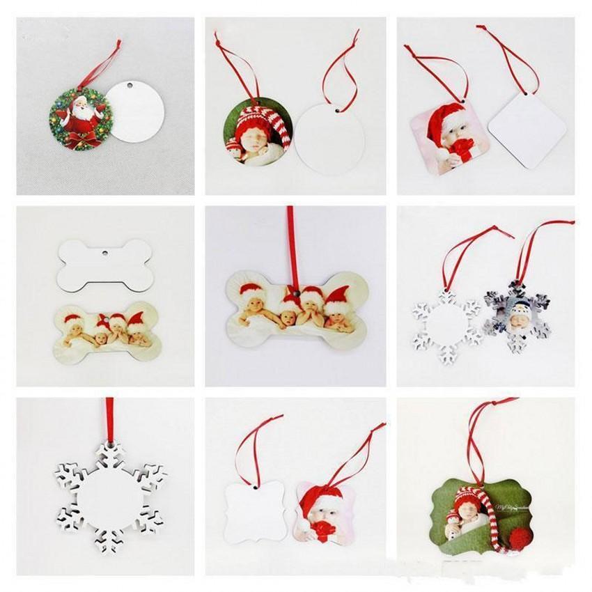 DHL envía 18 Estilo sublimación mdf Forma de Navidad adornos adornos de la plaza redonda de transferencia de las decoraciones caliente bruta de impresión Consumibles de 4266