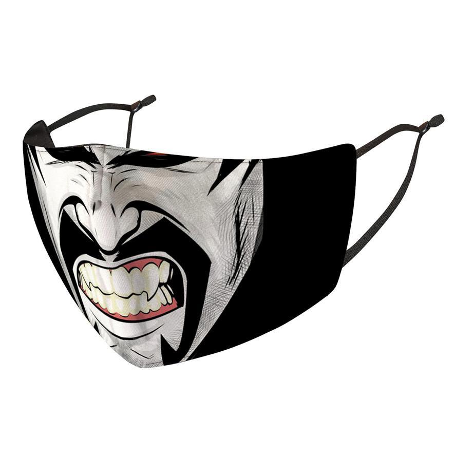 Payaso Cara Mascarilla Diseñador Hombres Mujeres Impresión de mujeres Máscaras de Halloween a prueba de polvo a prueba de viento a prueba de viento y Haze Reemplazable PM2.5 Filtro Facenask